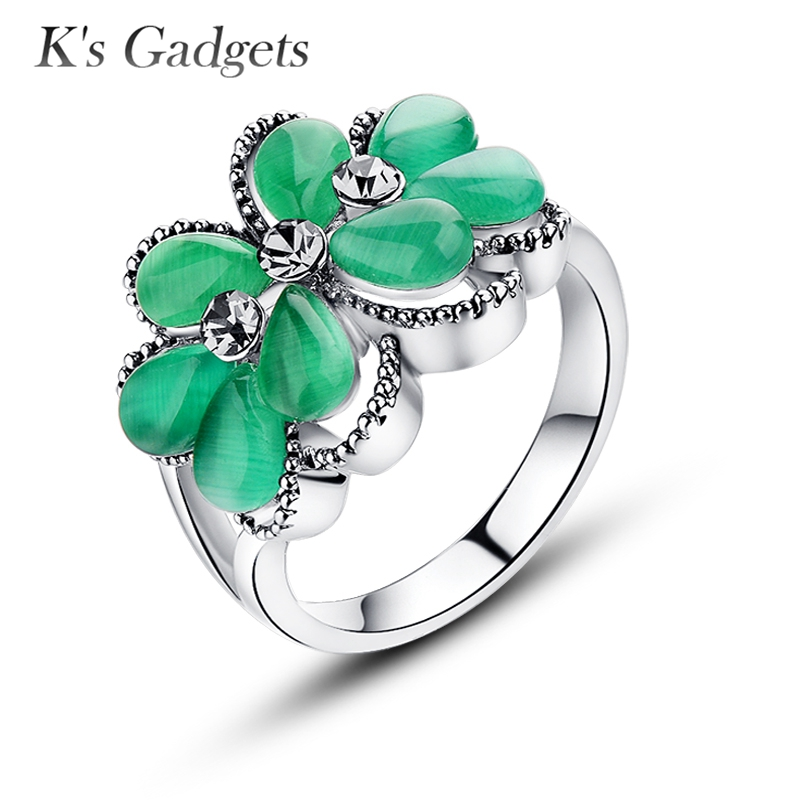 Fabulous Big Green Stone Rings For Women Silver color Vintage Black  &DK89