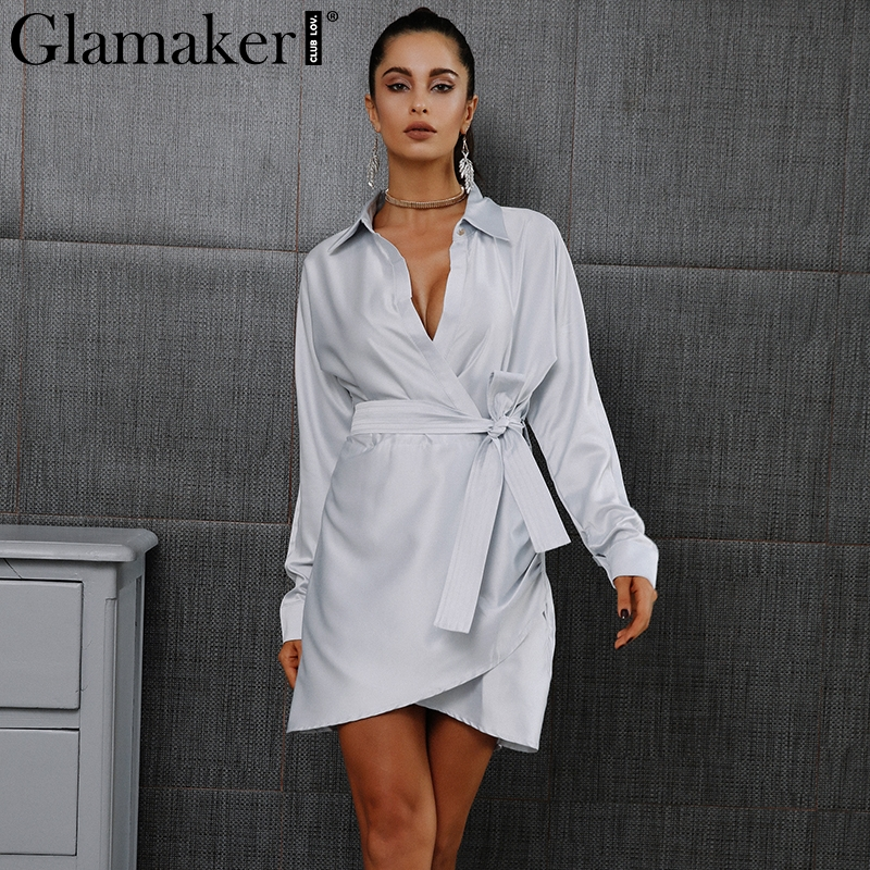 Glamaker Autumn belt satin wrap dress shirt Elegant long sleeve party sexy dress 2016 Winter club short women dress vestidos