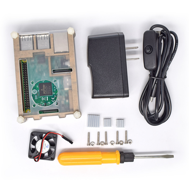 6 in 1 Starter Kit for Raspberry Pi 3B, 2B with Case/Power Supply/Fan/Heatsinks /USB and Screwdriver (without Raspberry board)