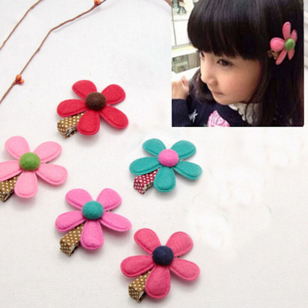 Hot Selling Girl Hairclip Mini Cloth Flower hair clip children hairpins DIY baby girl hair accessories 1Piece 5 Colors