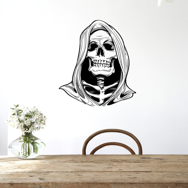 Scary Death Skull Halloween Decoration Wall Stickers Halloween Rooms Fun  Life Game Of Decor Ghost Home