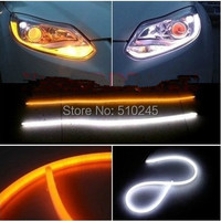 2x 60cm White Amber Flexible Headlight Car Led Switchback Strip Tube Style Angel Eye DRL Decorative