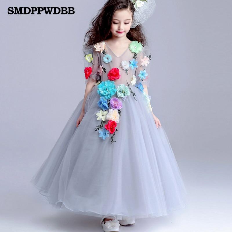ФОТО SMDPPWDBB Girls Dress Princess Dress Children Party Wear Veil Big Flower Kids Wedding Dress White Rose Flowers V-Neck Dress