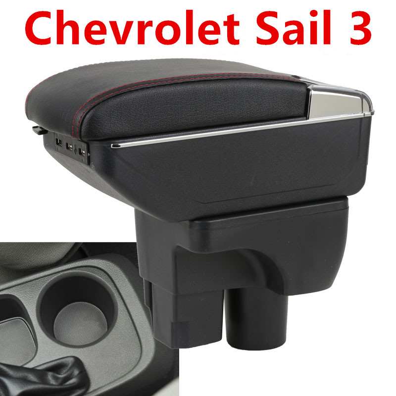 For Chevrolet Sail 3 Armrest Central Store Content Storage Box With Cup Holder Ashtray ABS Leather Accessory 2015-2018