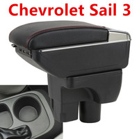 For Chevrolet Sail 3 Armrest Central Store Content Storage Box With Cup Holder Ashtray ABS Leather Accessory 2015 2018