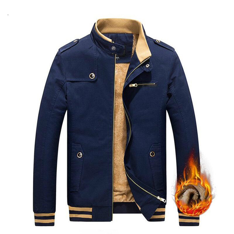 Autumn Winter Thick wool warm Velvet Male Casual Jacket Men Cotton Epaulet Pockets Stand Collar padded Windbreaker Coat for male