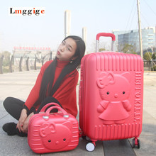 Whats up Kitty Baggage Carry-Ons,Kids Girls KT Suitcase,ABS Cartoon Journey Field,Common Wheel Spinner Trolley Hardcase Bag