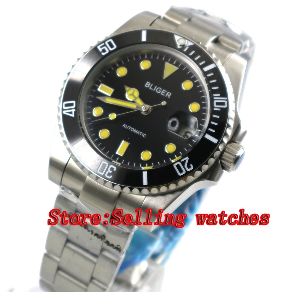 40mm Bliger black Dial ceramic bezel Stainless Steel Strap Sapphire Glass Automatic Movement Men's Mechanical Wristwatches p055 44mm bliger gray dial blue ceramic bezel sapphire crystal automatic movement men s mechanical wristwatches