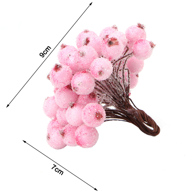 40pcs Mini Fake Fruit glass Berries Artificial pomegranate red cherry Bouquet Stamen Christmas Decorative Double heads -Y102 5