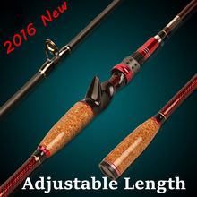 2016 New Design 1.8m - 2.1m Adjustable Carbon Fishing Rod 2 Section Baitcasting Rod
