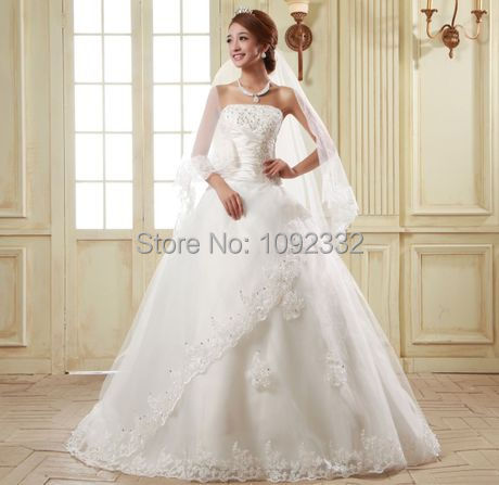 Us 58 99 2016 New Stock Plus Size Women Bridal Gown Sweet Vintage Lace Up Tube Top Wedding Dress Organza Lace Train Big Tail A4 In Wedding Dresses