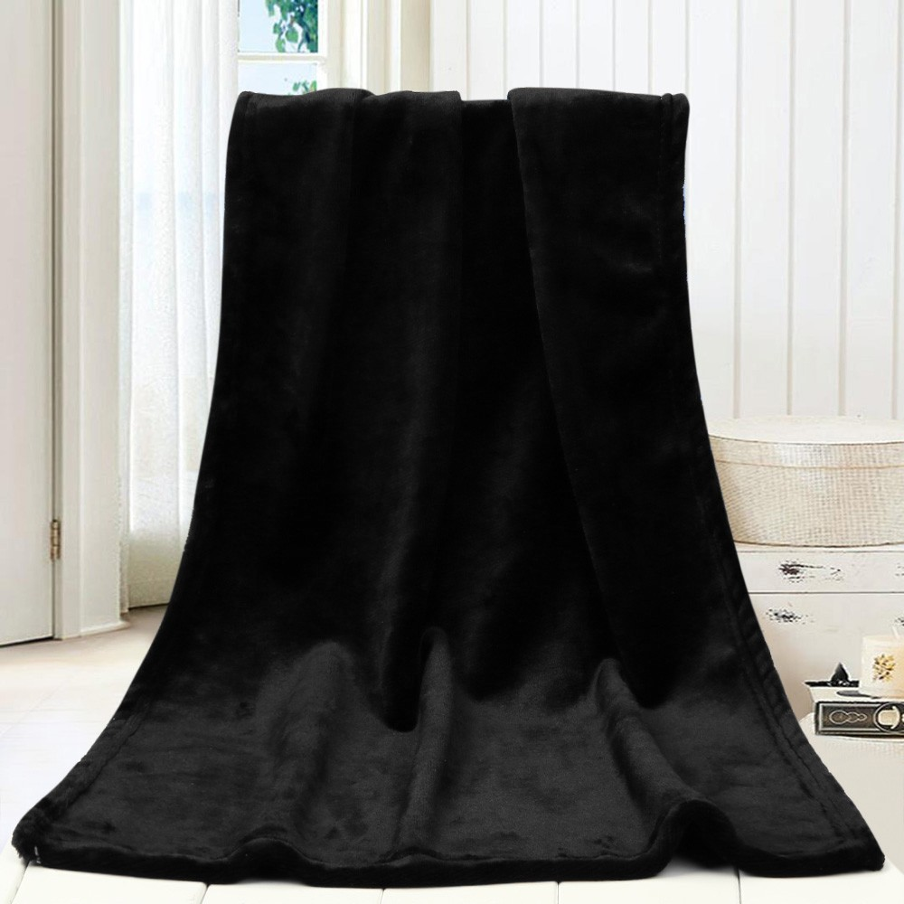 High Quanlity Flannel Pure Black Blanket Fashion Solid Soft Throw Kids Blanket Warm Coral Blankets Sofa Bedding 45X65CM