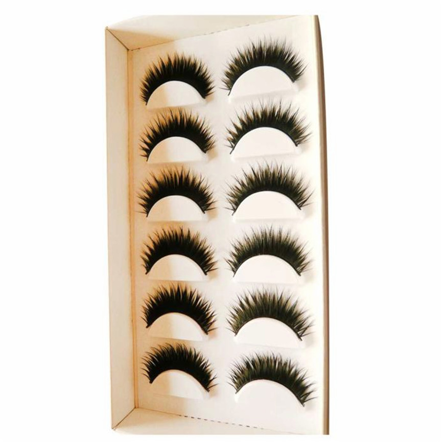 2017 6 Pairs Handmade Long Cross False Eyelashes Makeup Natural Fake Thick Black Eye Lashes Extention Tools Pestanas falsas