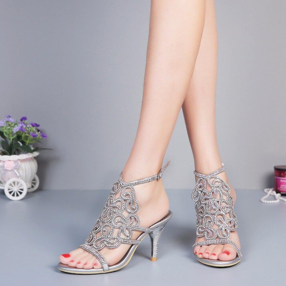 2017 Summer Sexy Girl Silver Chain Rhinestone Buckle Strap Thin High Heels Women Crystal Sandals Peep Toe Woman Wedding Shoes
