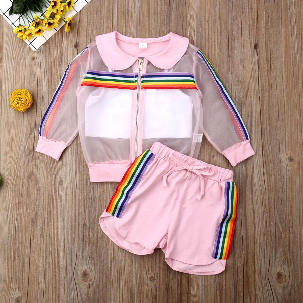 Vest Outfit Short-Pants Clothes-Summer-Set Rainbow-Coat Organza Toddler Baby-Girl Kids title=