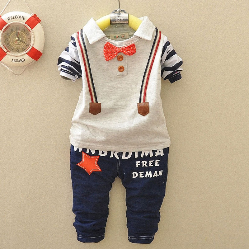 For 2017 spring fall infant baby boys clothes long sleeve suit brand design cotton casual sports suit 2pcs sets