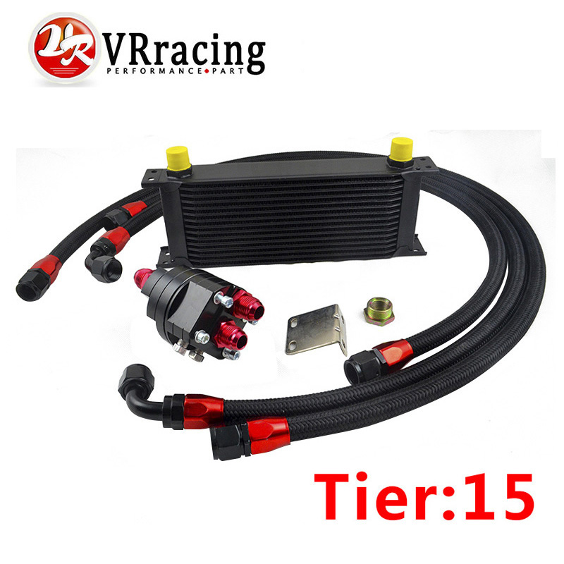VR RACING - UNIVERSAL 15 ROWS ENGINE OIL COOLER+ALUMINUM OIL FILTER/COOLER RELOCATION KIT+3XBLACK NYLON BRAIDED HOSE+ADAPTER epman universal 10 row oil cooler kit with oil filter relocation kit for turbo race ep ok1012
