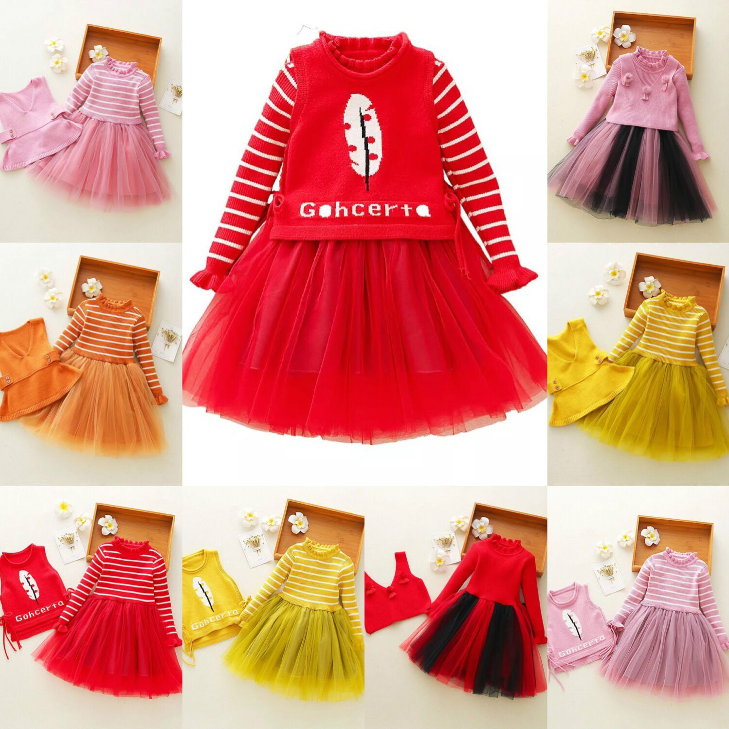 New Children Autumn Winter Dress Baby Girls Striped Long Sleeve Dresses Knitted Vest+tutu Dress 2pcs Clothes for 3-11Yrs CA3771 readit knitted dress 2017 autumn winter side split with faux pearl beading long sleeve elegant slim dress vestidos d2745 page 3