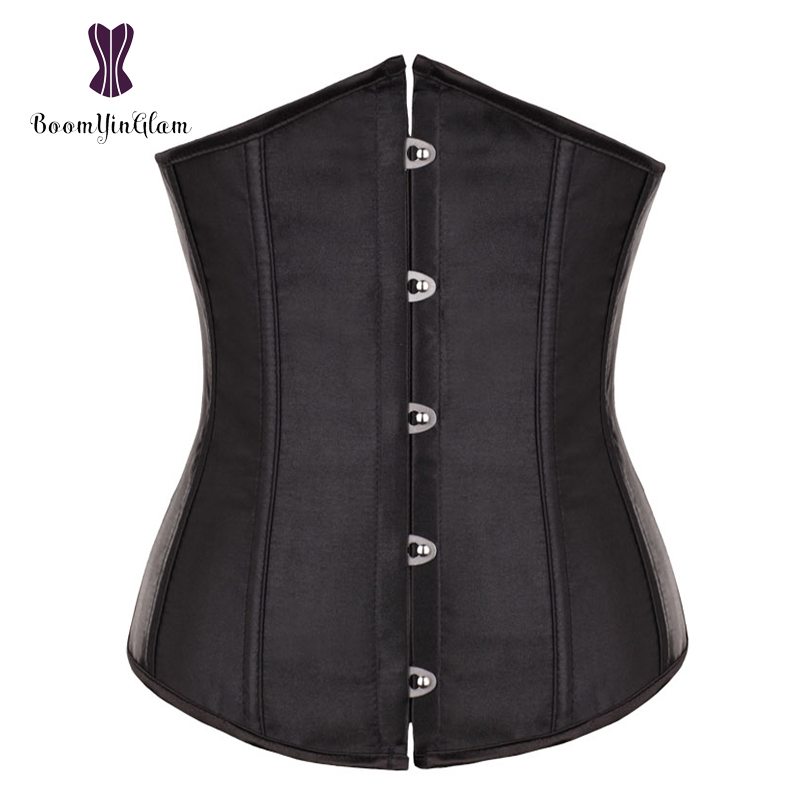 High Quality Metal Busk Clips Wholesale Underbust Waist Corset Slimming Waist Cinchers Lacing Bondage Satin Corsets 28335#