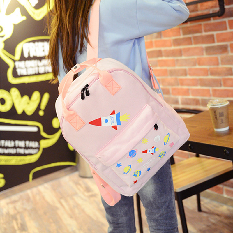 Adomoe preppy Style Kawaii Backpack Teens Casual Canvas School Bag Korean Mori Girl rocket pattern Students Travel Backpacks