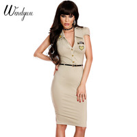 Wendywu Sexy Turn-down Collar Solid Knee-Length Short Sleeve Army Pencil Dress with Sashes