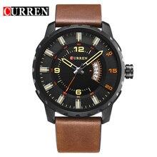 Curren montre bracelet de mode de 8245 nouveaux hommes d'affaires décontractée calendrier complet 30 mètre étanche noir relogio masculino