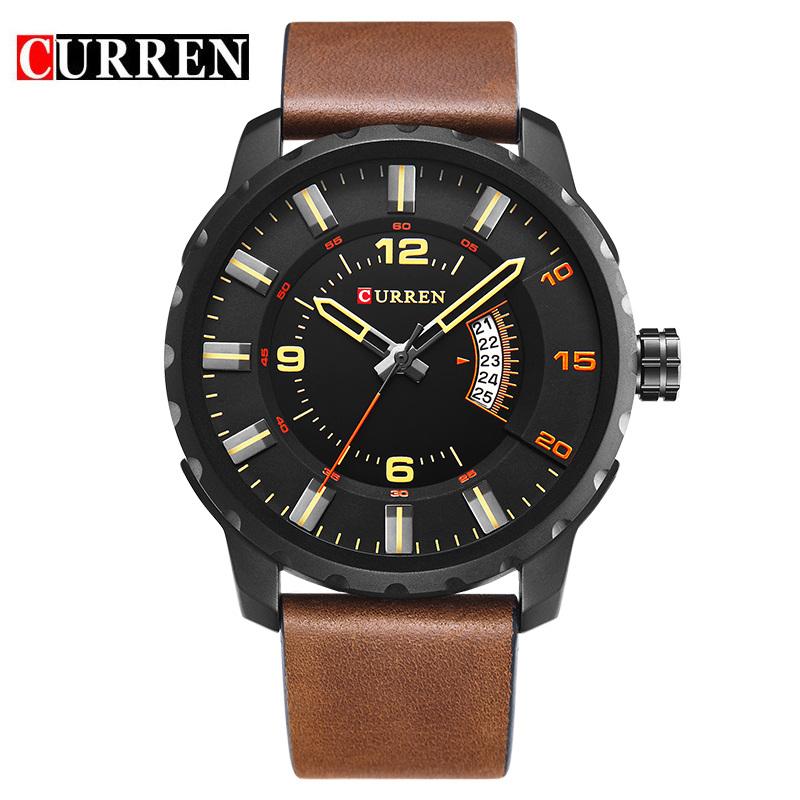 Prix pour Curren montre bracelet de mode de 8245 nouveaux hommes d'affaires décontractée calendrier complet 30 mètre étanche noir relogio masculino