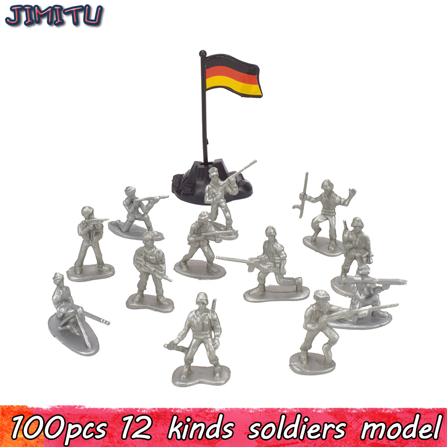 100pcs/Pack Military Plastic Action Figure Soldiers Toy Army Action Figures Model 12 Pos ...