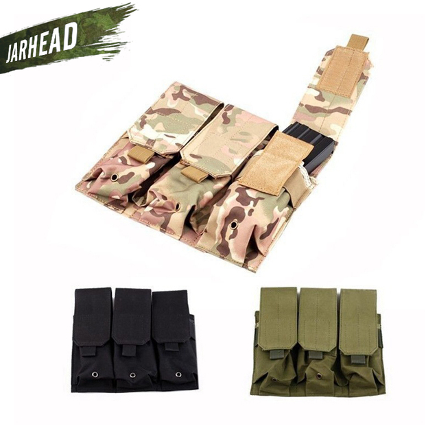 Outdoor Multifunctional Camouflage MOLLE Tactical Triple Triple Magazine Pouch Mag Holder Military Tactical Vest Accessory Bag