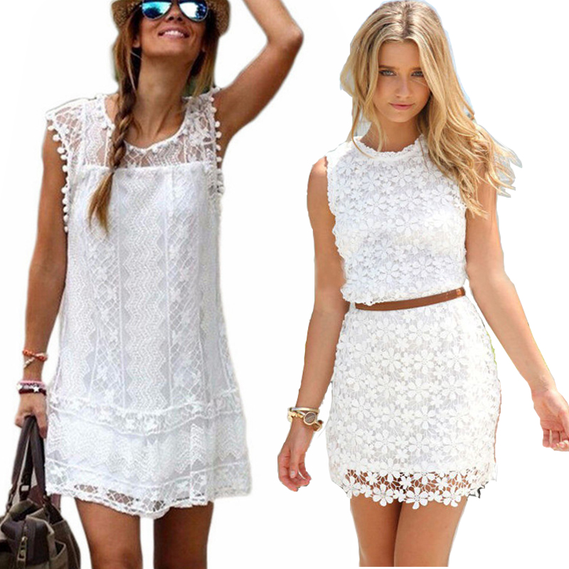 2018 Summer Party Dress Sexy Women Casual Short Sleeve mini Dresses Beach Tassel White Black Mini Lace Dress Vestidos