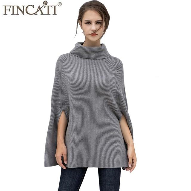 f89c22ce8 Trending 100% Goat Cashmere Cloak Shrug Turtleneck Cozy Soft Autumn Winter  Wrap Swing Pashmina Sweaters