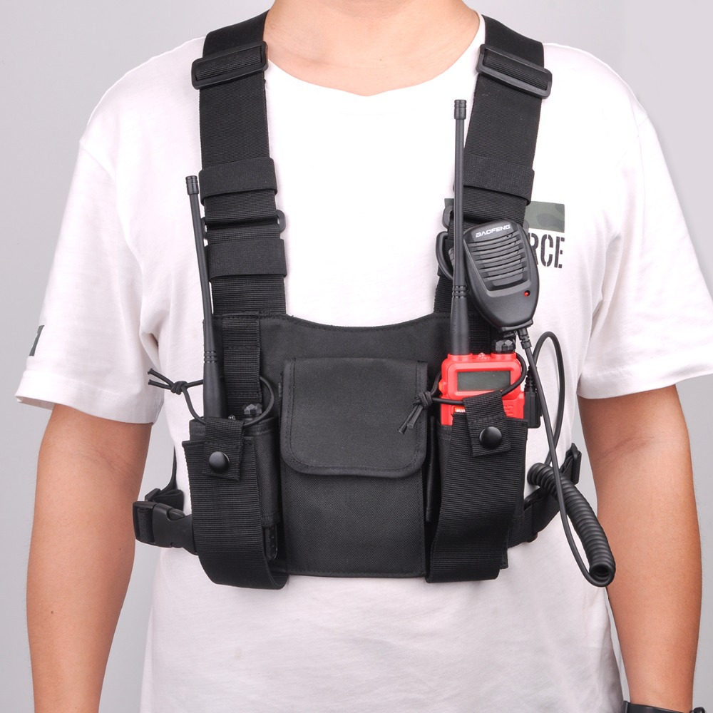 Walkie Talkie Front Chest Pack UV 5R Radio Pouch Outdoor Harness Carry Bag For Baofeng UV-5R UV-82 Radio Station Backpack
