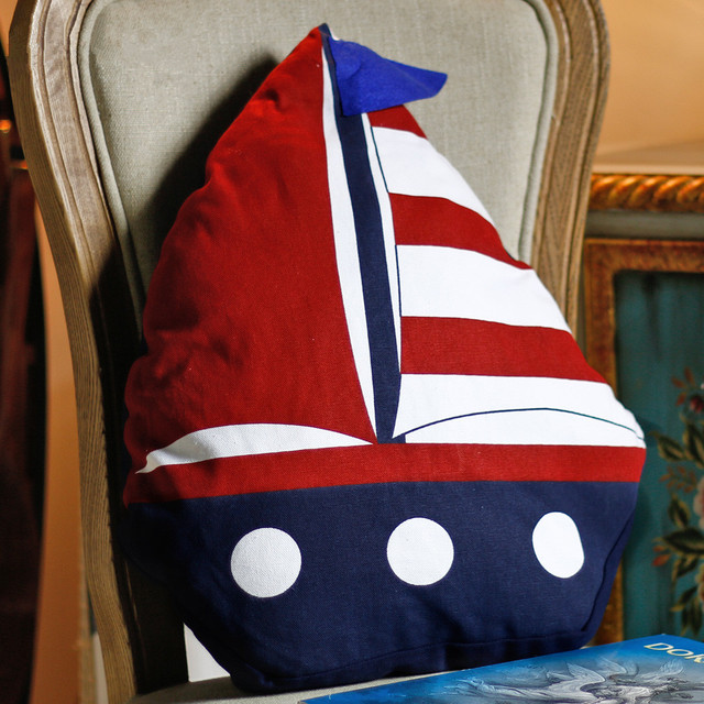 Little Sailing Ship Cotton Pillow 2