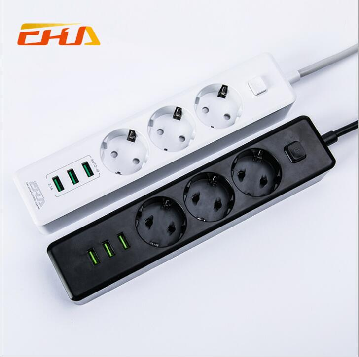 White/Black 3 EU Plug Socket Outlets with 3 USB Ports Quick Charging 250V 10A 1.8M Extension cord EU Adapter with Gift Package