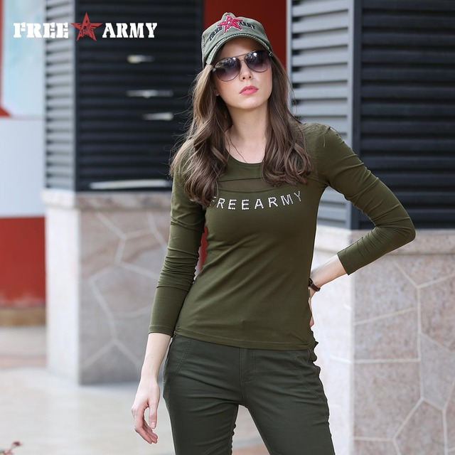 Fashion 2016 Shirts Womens Brand Cotton Lace Shirt Army Green Appliques T Shirt Long Sleeve High Quality Free Shipping Gs-8512A