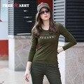Moda 2016 Camisas de Marca Para Mujer Camisa de Encaje de Algodón Verde Del Ejército Gs-8512A Apliques Camiseta de Manga Larga de Alta Calidad Libre Del Envío