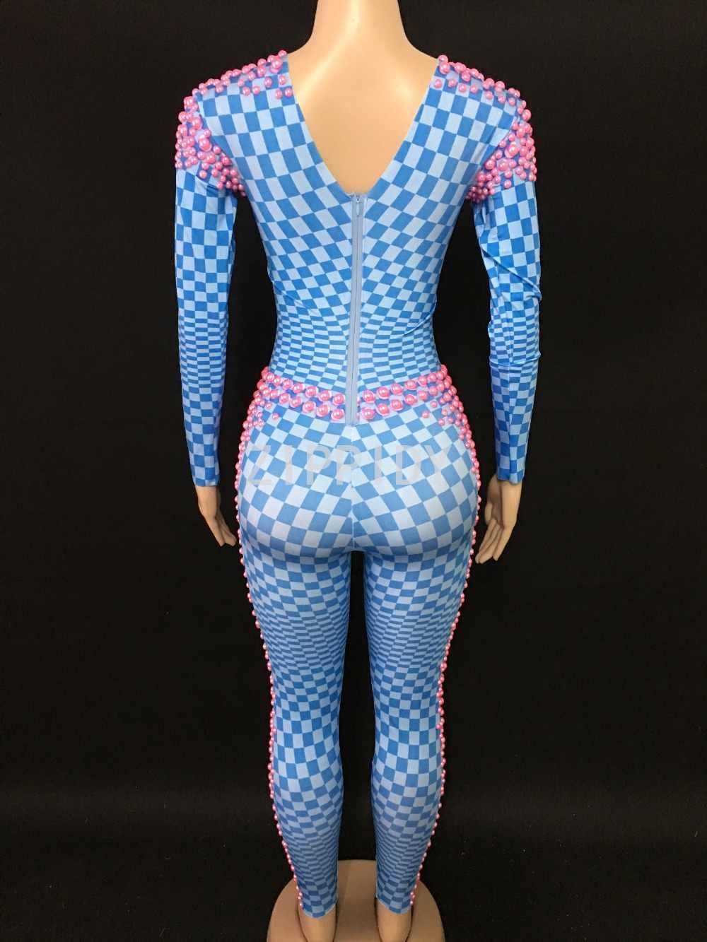 Модные розовые жемчужины камни синий клетчатый узор Комбинезоны для женщин спандекс одна деталь для наряд певица Леггинс