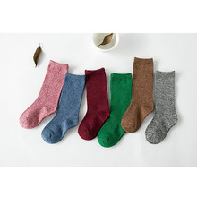 4 pairs / children socks 2016 new autumn and winter piles of socks cotton solid color boy 2-4 years old girls in tube socks