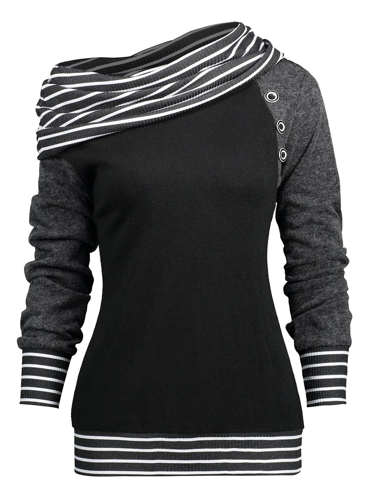 Gamiss T Shirt Women Stripe Trim Skew Neck Raglan Long Sleeve T Shirts Autumn Spring Womens Tops Tees Shirt Casual T Shirts Tees