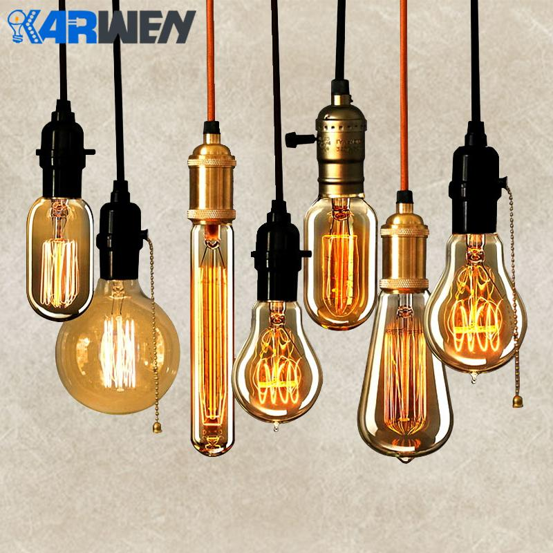 Edison Bulb E27 Incandescent Retro Lamp 40W 220V ST64 A19 T45 T10 G80 G95 Antique Vintage Bulb Edison Lamp filament Light bulb 4th july girl plain white pettitop red white blue bow petal pettiskirt nb 8year mamh209