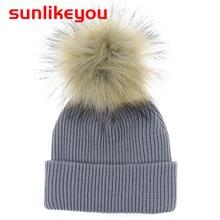 Sunlikeyou Soft 2019 Winter Newborn Baby Boys Girls Faux Fur pompom Hats Caps Resilient stripe Kids Knitted Skullies Beanies