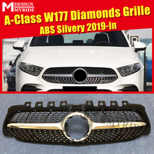 W177 A class Diamonds style grille grill ABS Silver Sport Without Camera A180 A200 A250 A45 look Modesls From april 2019+