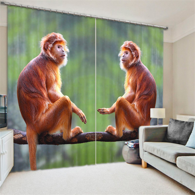Golden Monkey 3D Blackout Window Curtains For Living room Bedding room Home Decor Tapestry Wall Carpet Drapes CotinasGolden Monkey 3D Blackout Window Curtains For Living room Bedding room Home Decor Tapestry Wall Carpet Drapes Cotinas