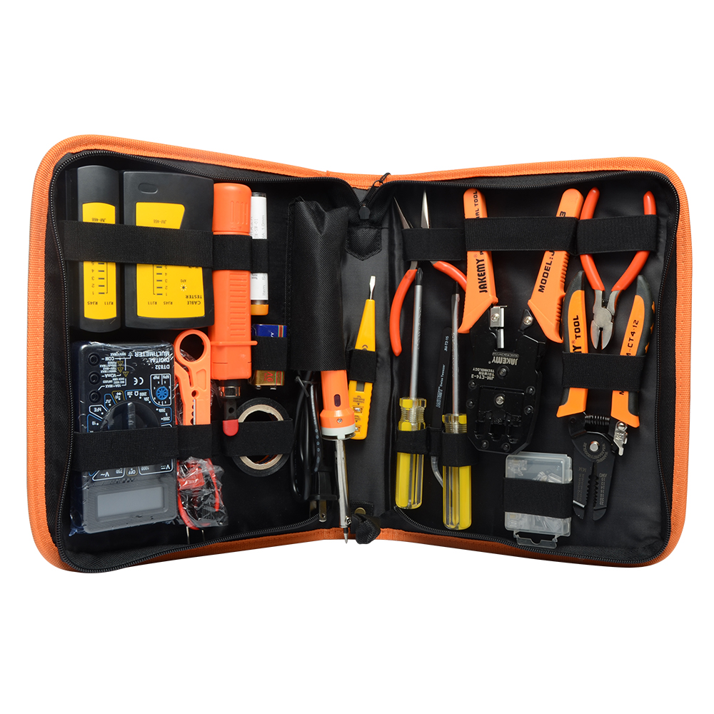 Jakemy Electronic Maintenance Tools Set Soldering Iron Metal Spudger Pliers Tweezers Digital Multimeter Repair Tools Kit JM-P15