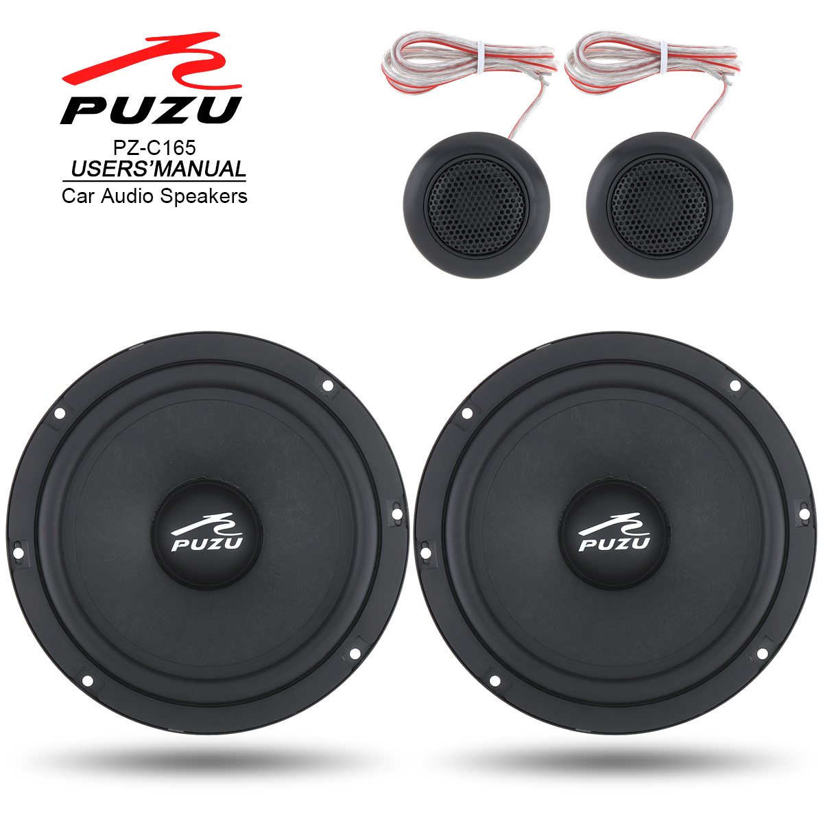 2Pcs 6.5 Inch 180W Car Coaxial Speaker Full Range Frequency Stereo Speaker Loudspeaker with Tweeter Frequency Divider for Cars