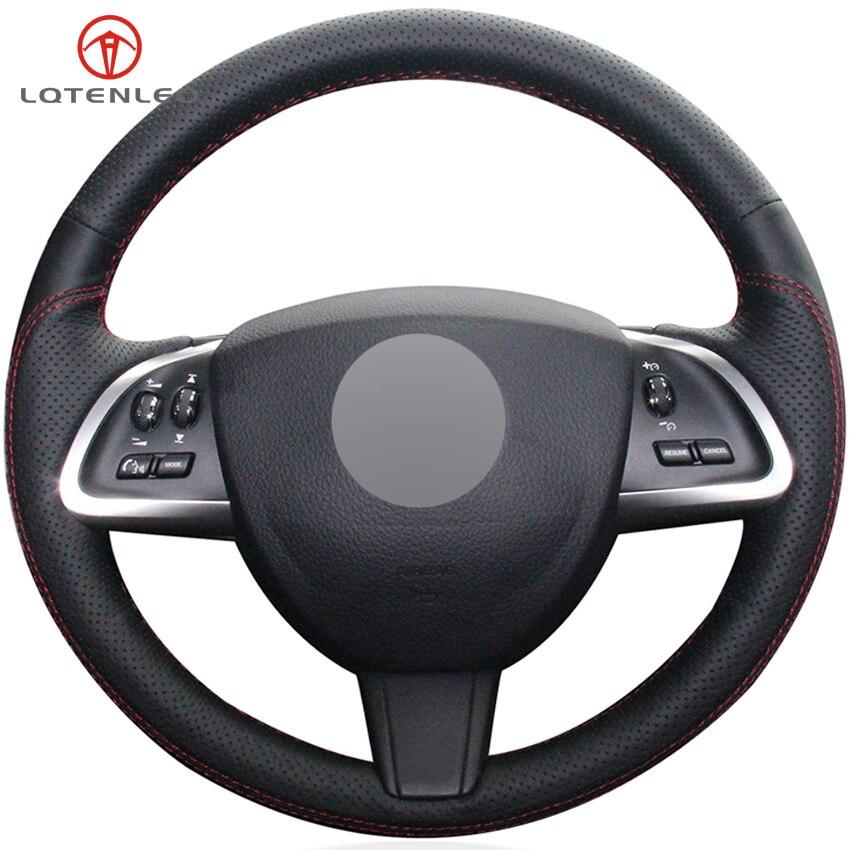 LQTENLEO Black Genuine Leather Car Steering Wheel Cover For Jaguar XF XF S XFR XF Sportbrake