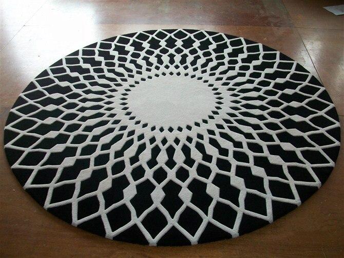 Tapis rond en laine tapis de prière de luxe tapis moderne noir blanc fait main salon/chambre tapis minable et chic