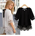 Sexy Lace Bow Women's Blouses shirts 2017 Female Summer Tops chiffon plus size clothing body camisa feminine blusas feminino