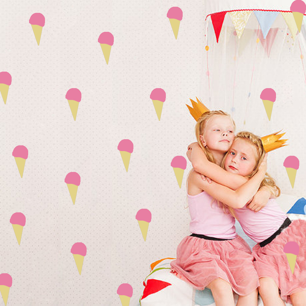 Nordic Style Girl Pink Ice Cream 3D Wallpaper Simple Wall