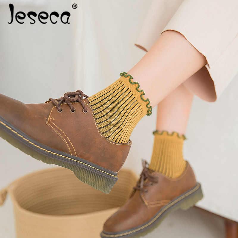 Jeseca mignon collège Style étudiants courtes chaussettes printemps été femmes solide coton chaussette Harajuku rétro filles cheville Sox cadeaux